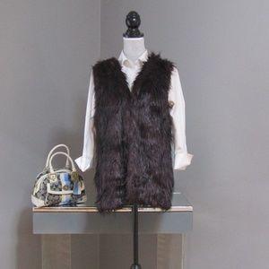 Sebby Collection Burgundy Faux Fur & Knit Vest  L